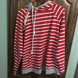 Red and white stripe hoodie